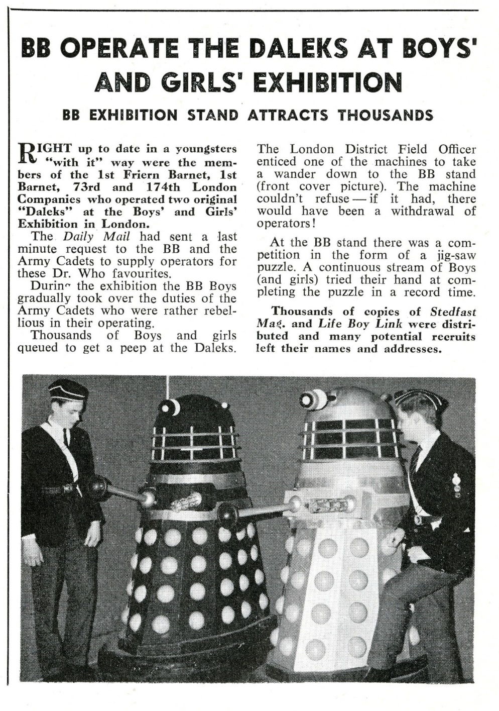 Stedfast Magazine, February 1965, describing the Boys' Brigade support to the Daily Mail Schoolboys and Girls Exhibition