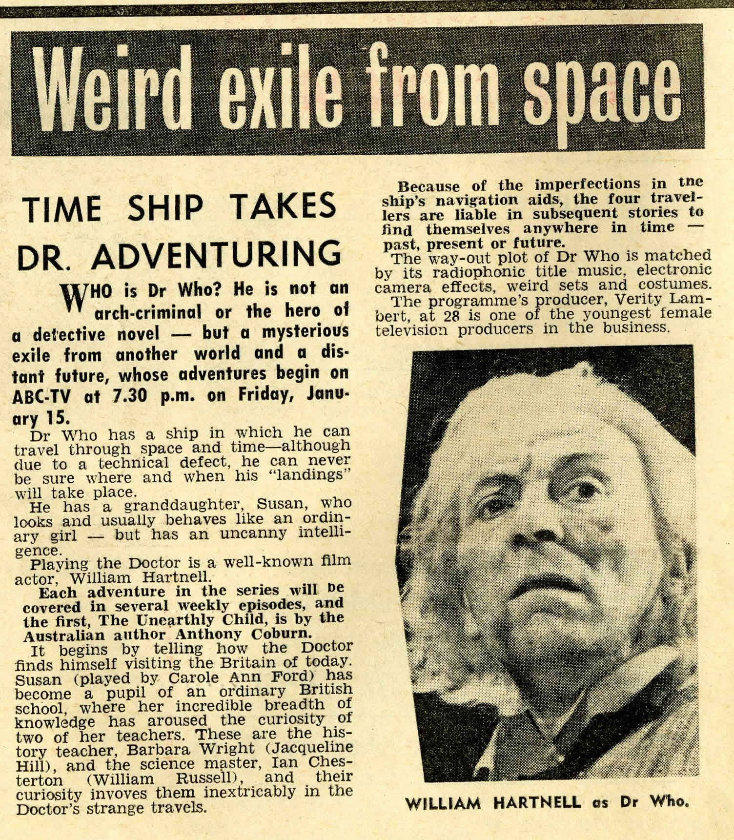 TV Times (Australia), January 6, 1965 previewing first Australian broadcast on ABC-TV, January 15, 1965