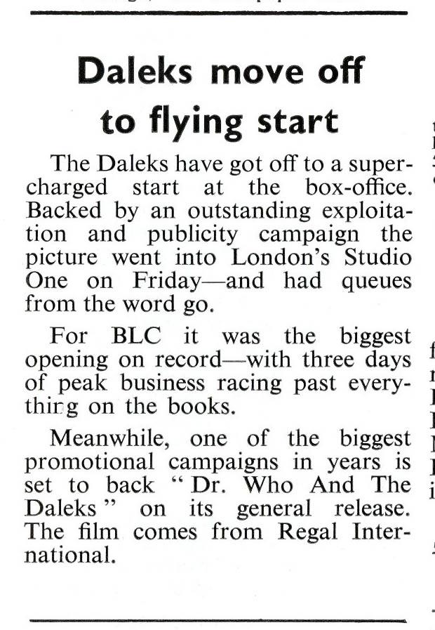 Daily Cinema, 30 June 1965