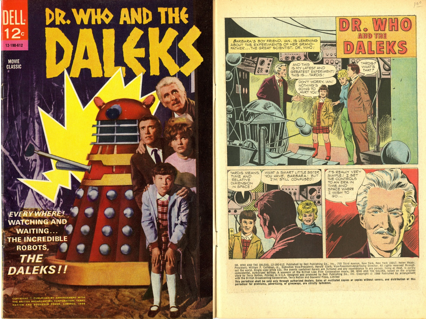 Dell Publishing Co., Inc., Dr. Who and the Daleks Movie Classic, cover and first page, 1966