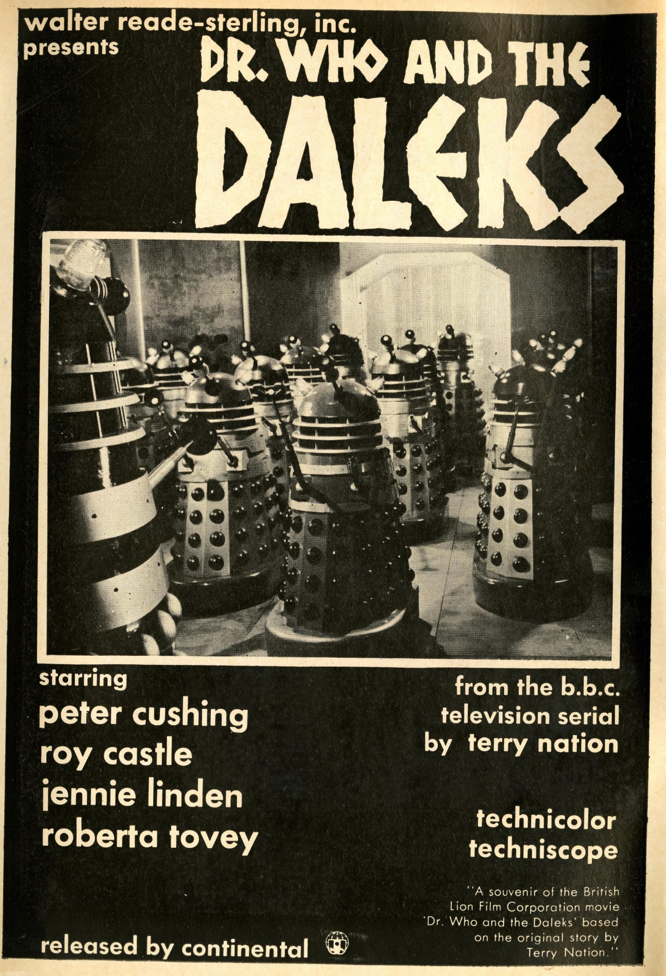 Ad. for US release of Dr. Who and the Daleks in Dell Comics, 1966