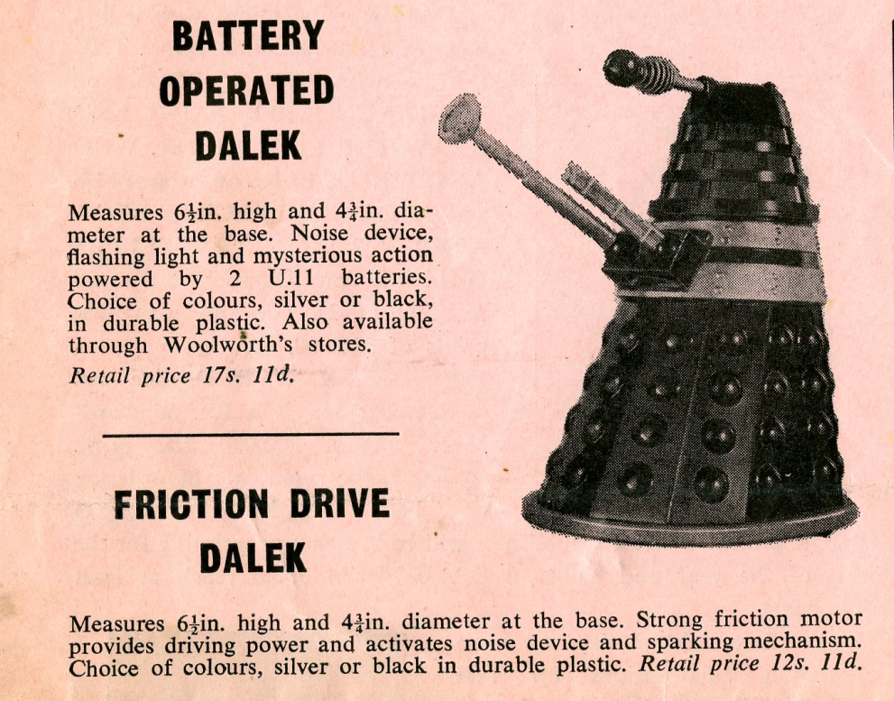 Ad. for the Louis Marx and Company Ltd. battery-operated and friction-drive Daleks from the Regal Films, Dr. Who and the Daleks Campaign Book Merchandise Supplement