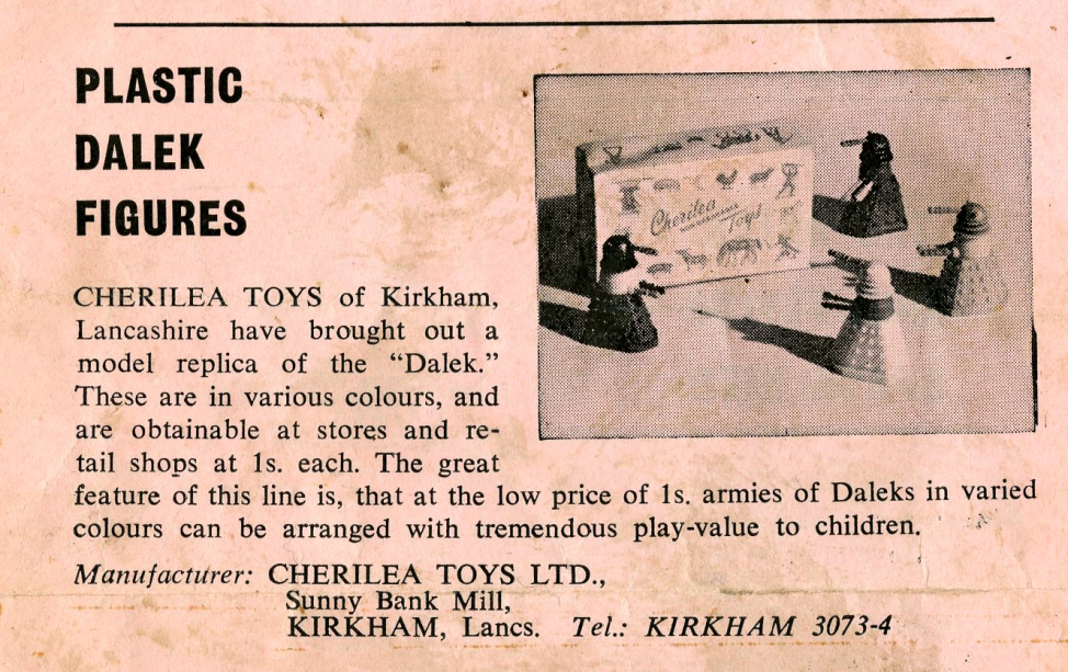Ad. for Cherilea Toys Ltd. Swap-It Daleks from the Regal Films, Dr. Who and the Daleks Campaign Book Merchandise Supplement (ad. suggests that a generic point-of-sale box was used for the Daleks)