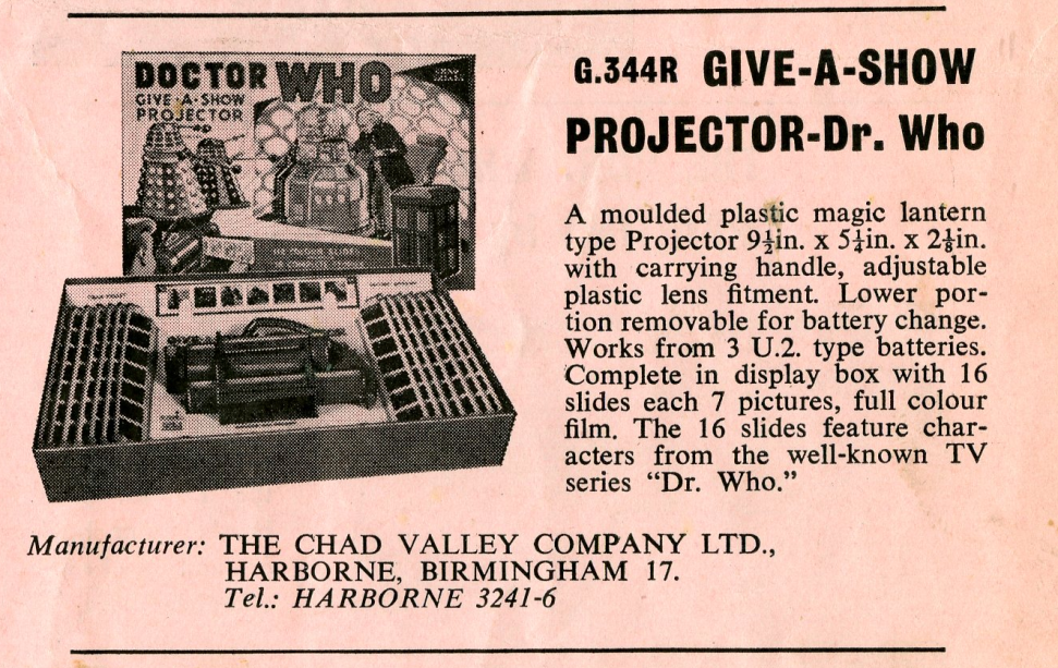 Ad. for the Chad Valley Dr. Who Give-A-Show Projector in Regal Films Dr. Who and the Daleks Campaign Book Merchandise Supplement