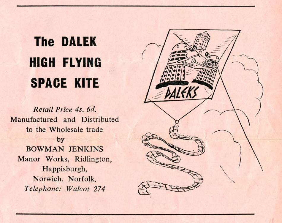 Ad. for the Bowman Jenkins Dalek Kite in the Regal Films Dr. Who and the Daleks Campaign Book Merchandise Supplement
