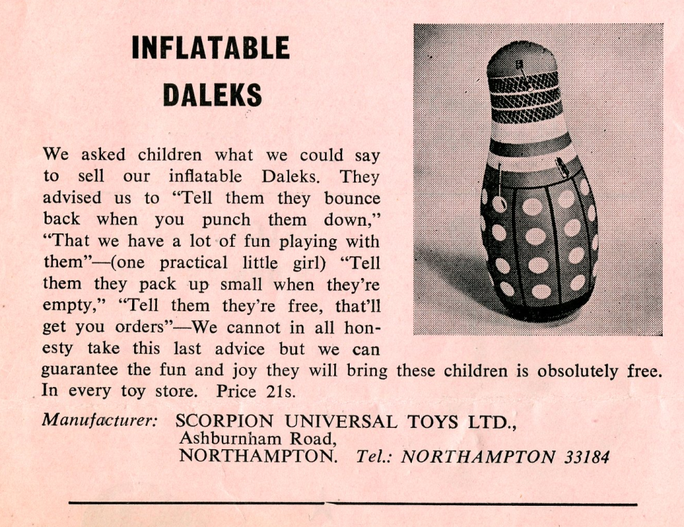 Ad. for Scorpion Universal Toys Inflatable Dalek in the Regal Films Dr. Who and the Daleks Campaign Book Merchandise Supplement