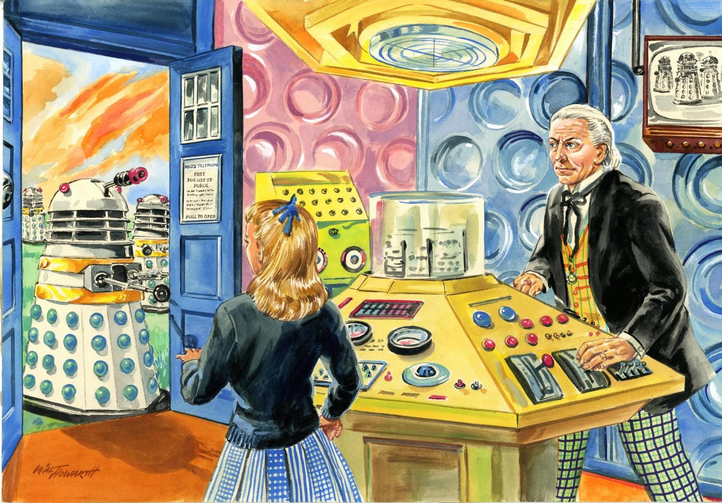 """Original oil painting by Walter Howarth copying his artwork for the """"In the TARDIS"""" jigsaw"""