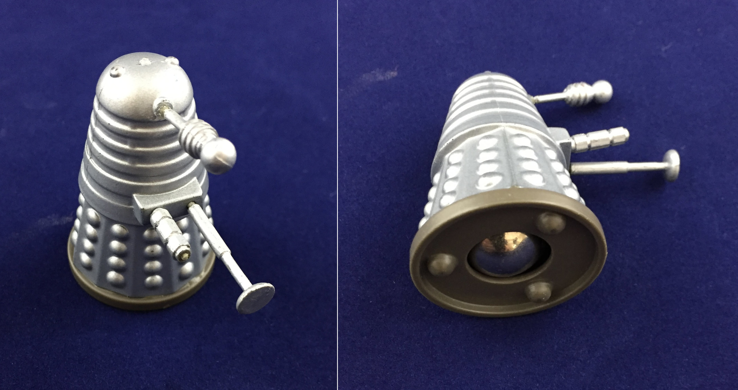 Louis Marx and Company Ltd., prototype 2-inch Dalek Rolykin (standard production Rolykin is 1-inch tall)