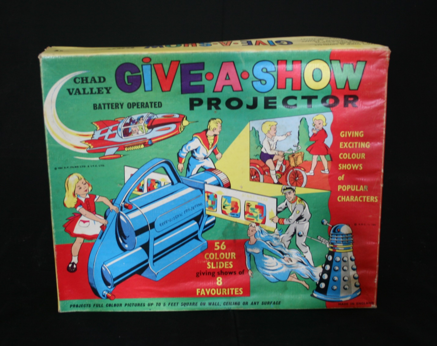Chad Valley Ltd., Give-A-Show Projector (includes Doctor Who slides and Dalek image on box)