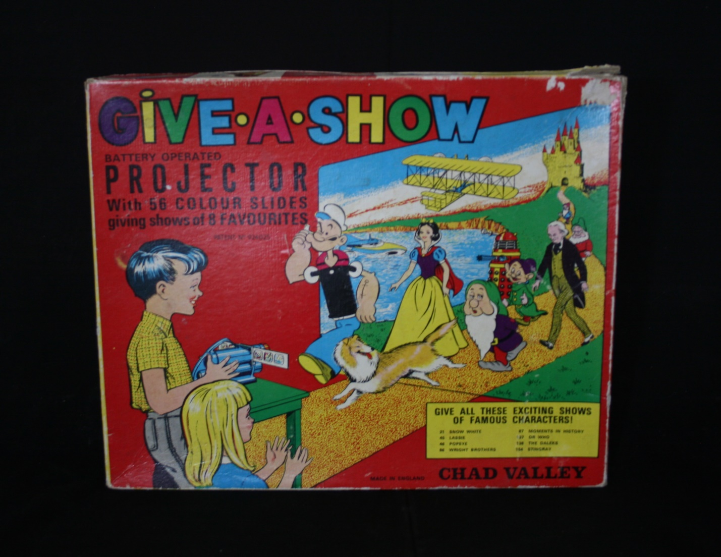 Chad Valley Ltd., Give-A-Show Projector (includes Doctor Who slides and William Hartnell image on box)