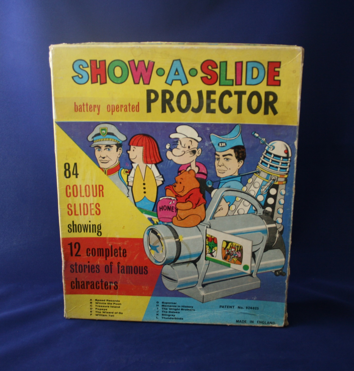 Chad Valley Ltd., Show-A-Slide Projector (includes Doctor Who slides and Dalek image on box)