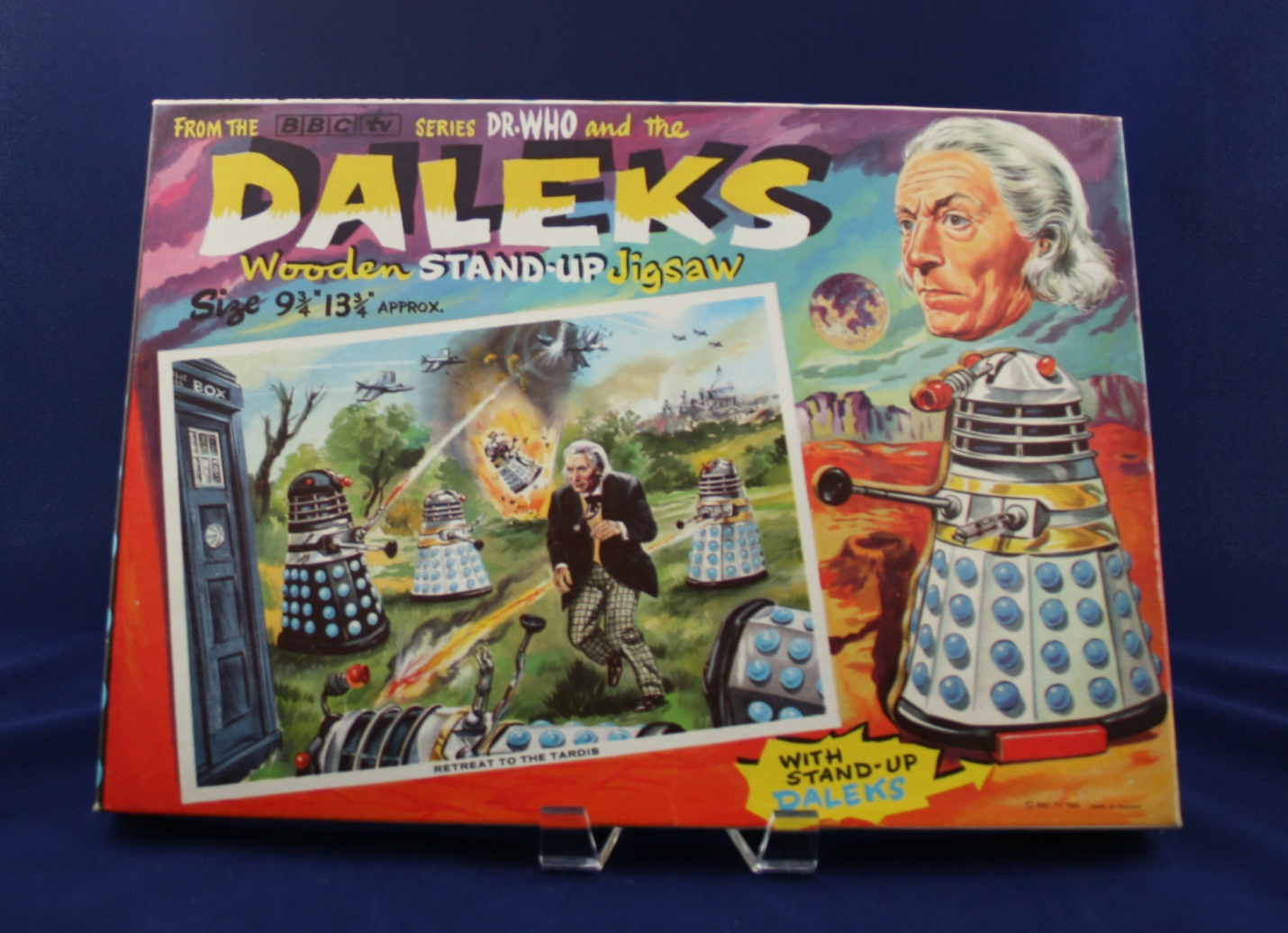 """Thomas Hope and Sankey Hudson Ltd., Dr. Who and the Daleks Wooden Stand-Up Jigsaw, """"Retreat to the TARDIS"""""""
