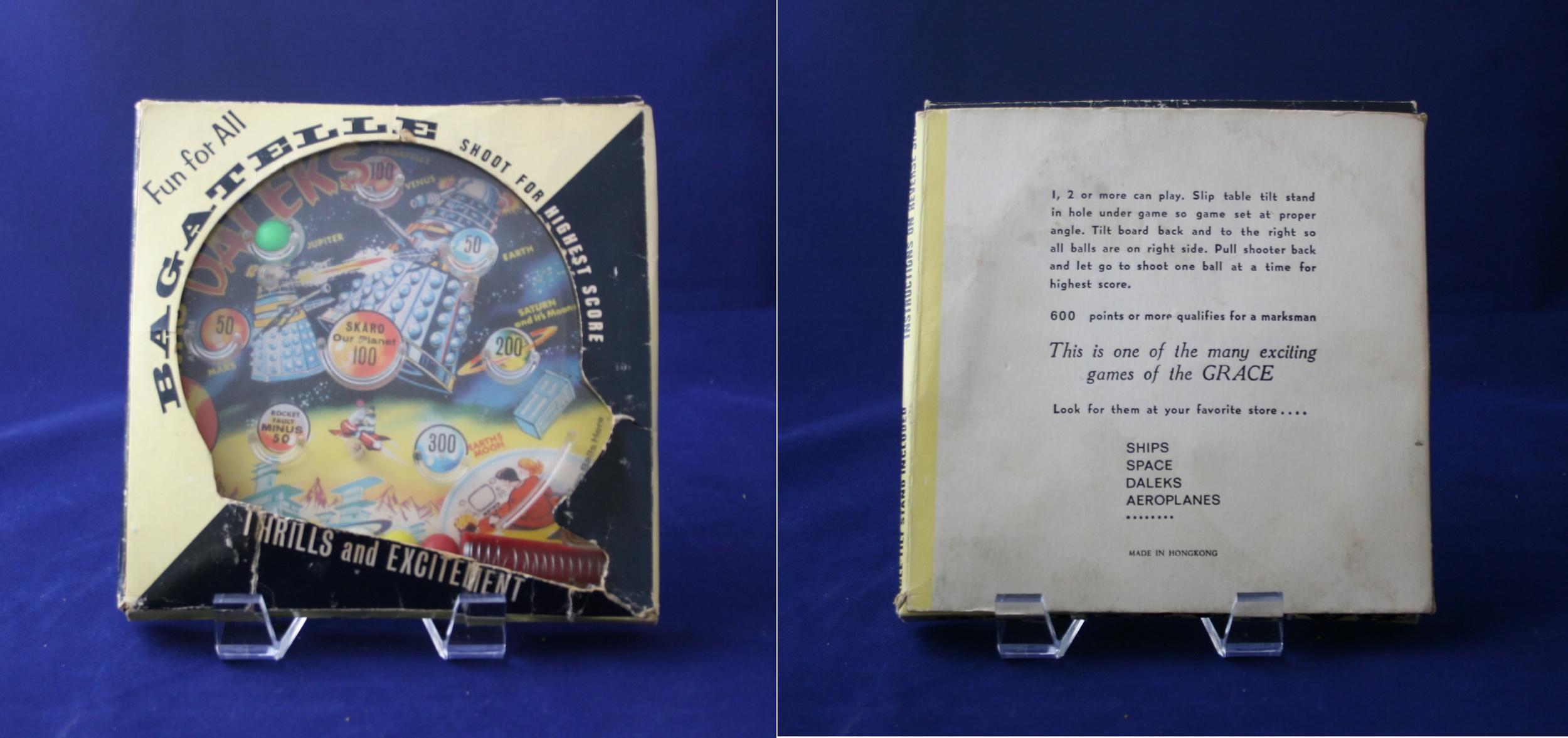 Grace Toys Ltd., repackaged small vertical Dalek Bagatelle (unsold Louis Marx stock)