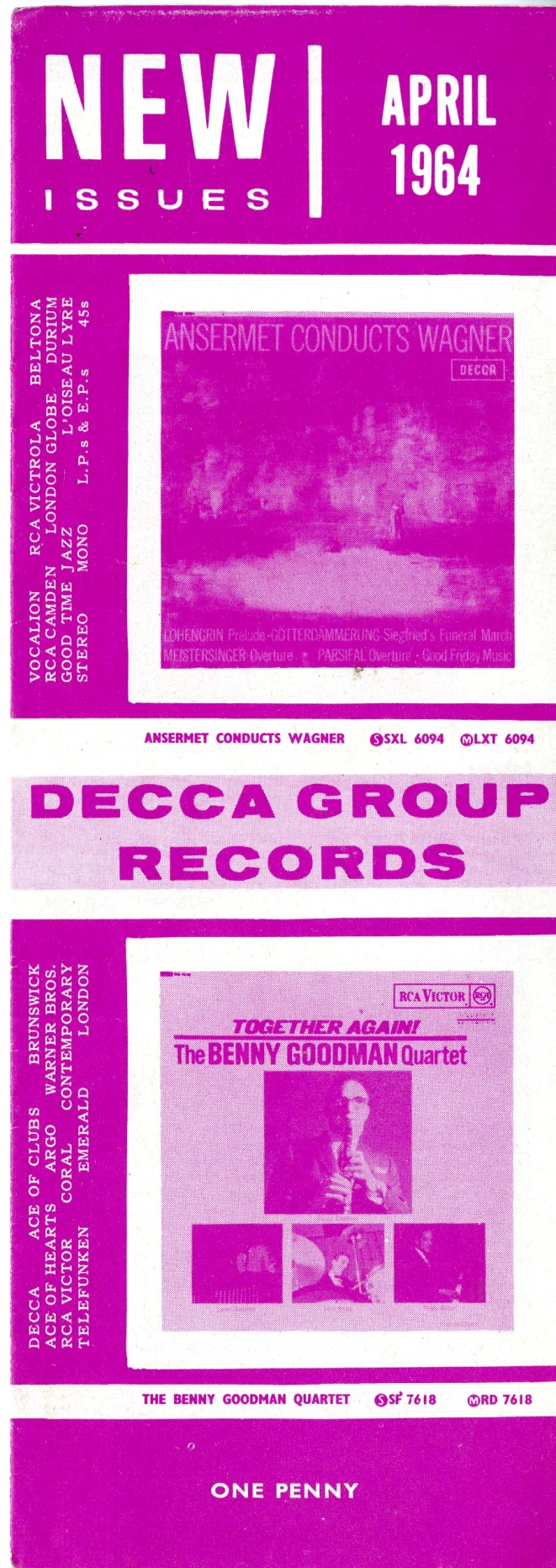 Cover of Decca Record Co. April 1964 catalogue listing the Doctor Who theme from the BBC Radiophonic Workshop