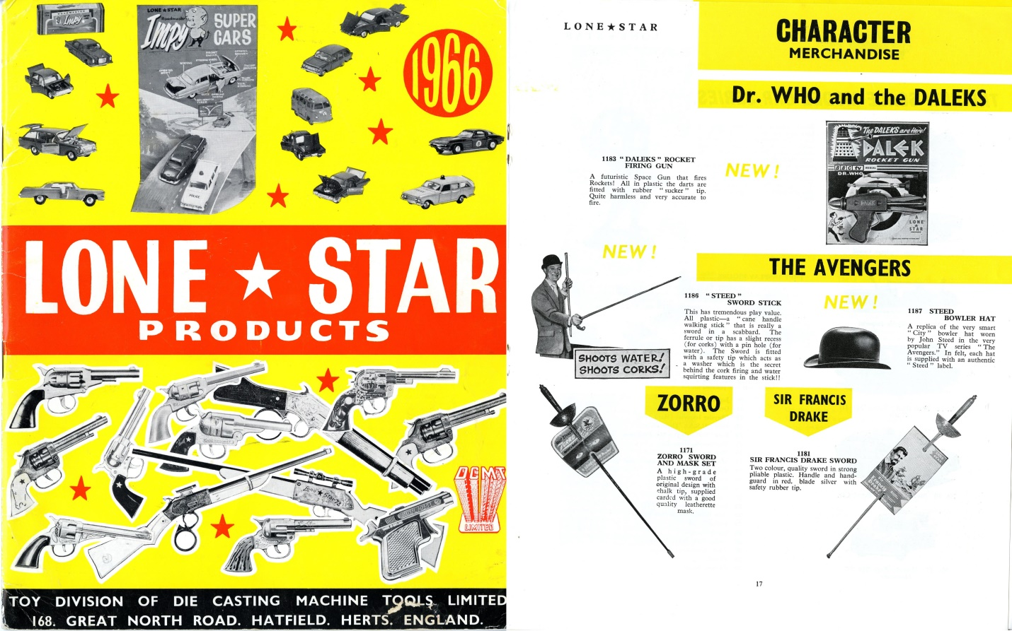 Lone Star Products 1966 Catalogue featuring the Dalek Rocket Gun