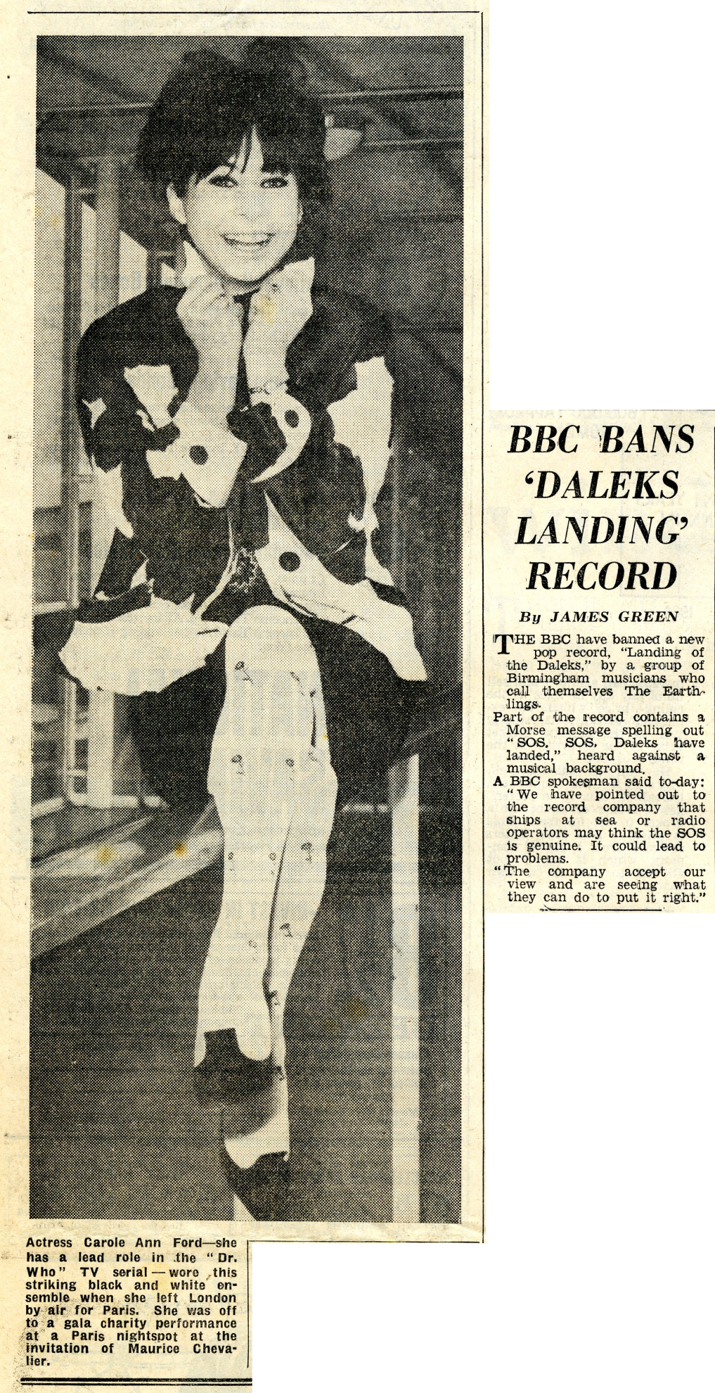 London Evening News and Star, 28 January 1965 with article about Parlophone's Landing of the Daleks