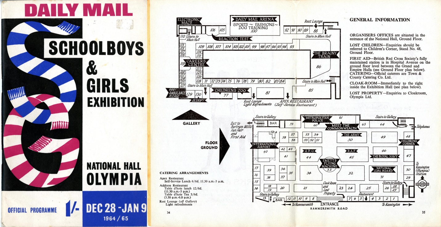 Daily Mail Schoolboys and Girls Exhibition, Olympia, London, 28 December 1964 - 9 January 1965; the late decision to include the Daleks means there is no mention in the catalogue