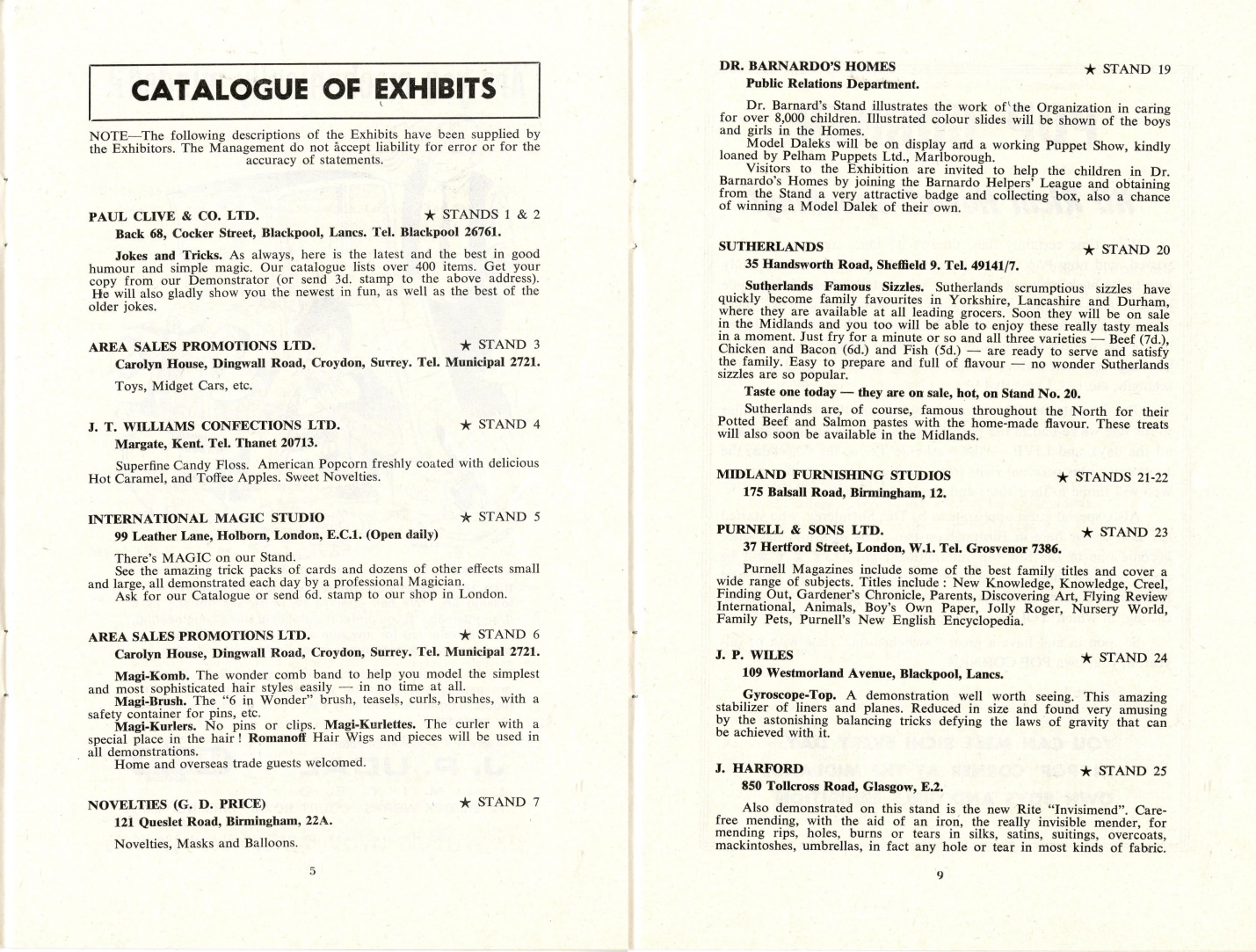 Exhibits list form the Birmingham Boys and Girls Exhibition, where Dr, Barnardo's Homes were displaying toy Daleks