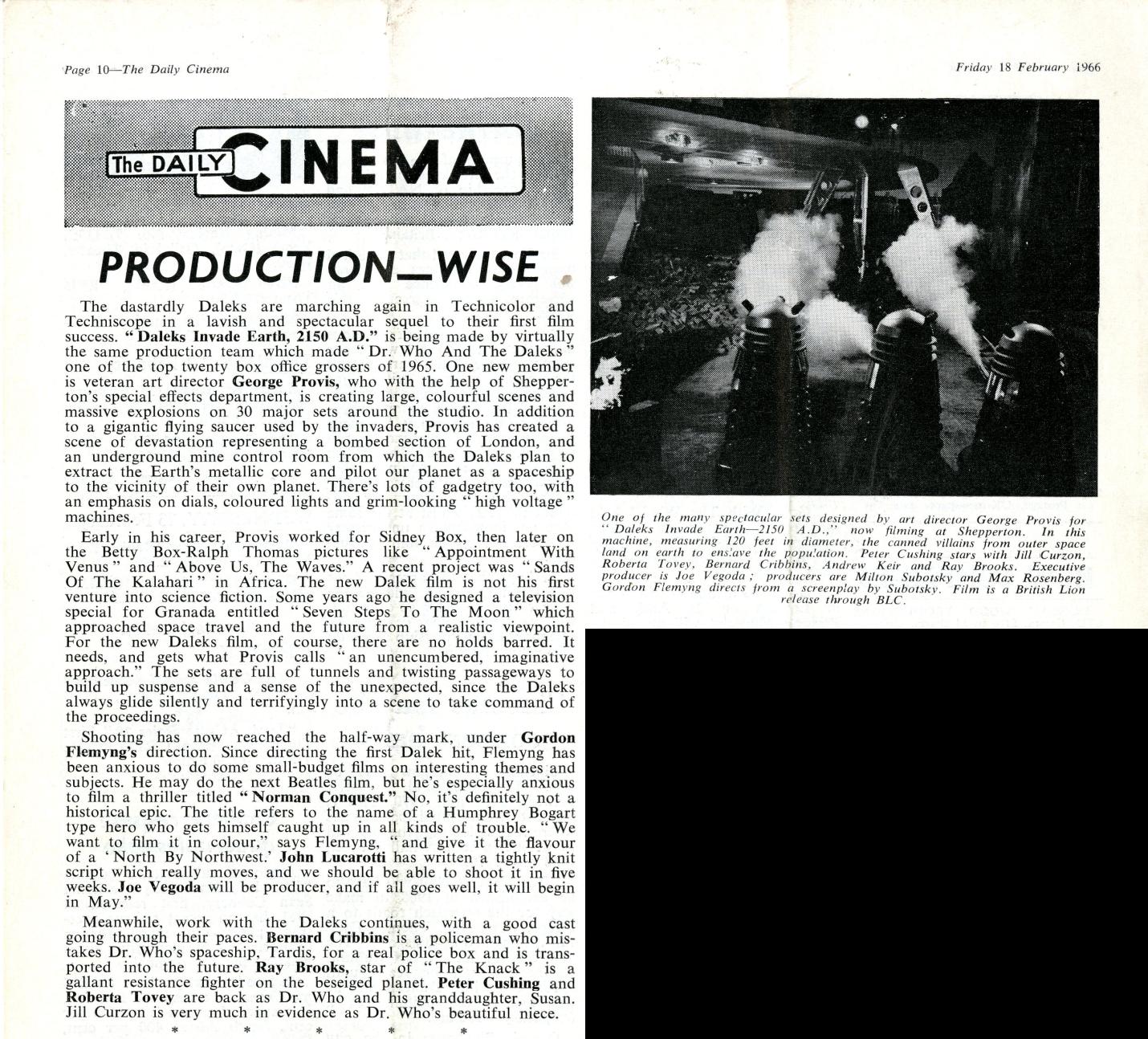 Daily Cinema, 18 February 1966