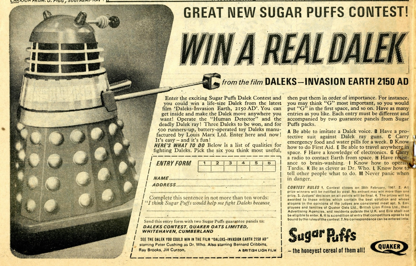 Sugar Puffs Win a Dalek competition ad in Smash no. 31, 3 September 1966