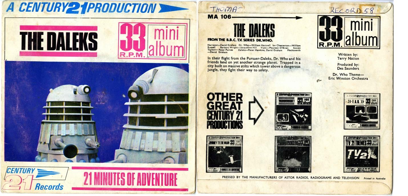 Century 21 Records, The Daleks 33 RPM Mini Album, pressed by Astor Records, Australia (cat. no. MA-106)