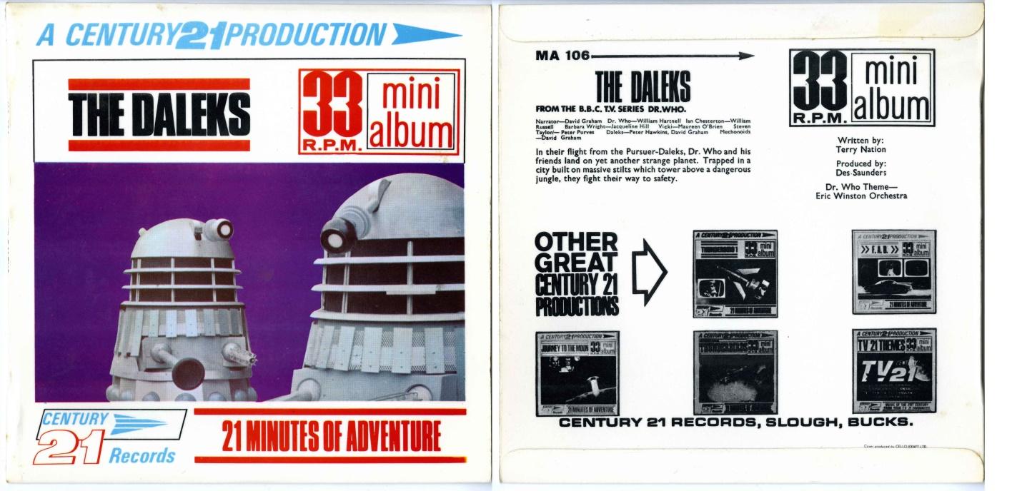 Century 21 Records, The Daleks 33 RPM Mini Album, made in New Zealand under license to Pye Ltd., (cat. no. MA-106)