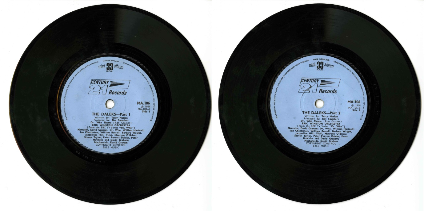 Century 21 Records, The Daleks 33 RPM Mini Album, Copyright Control Erle Music, (cat. no. MA.106)