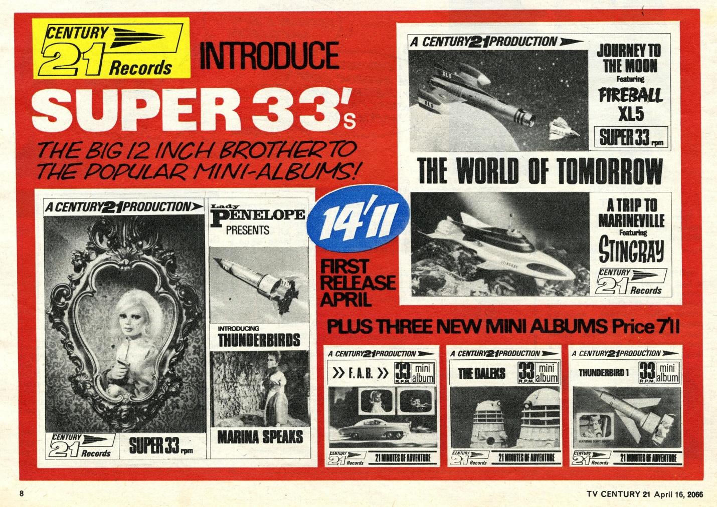 Ad. for the Century 21 Daleks Mini Album in TV Century 21, no. 65, 16 April 2066 (1966)