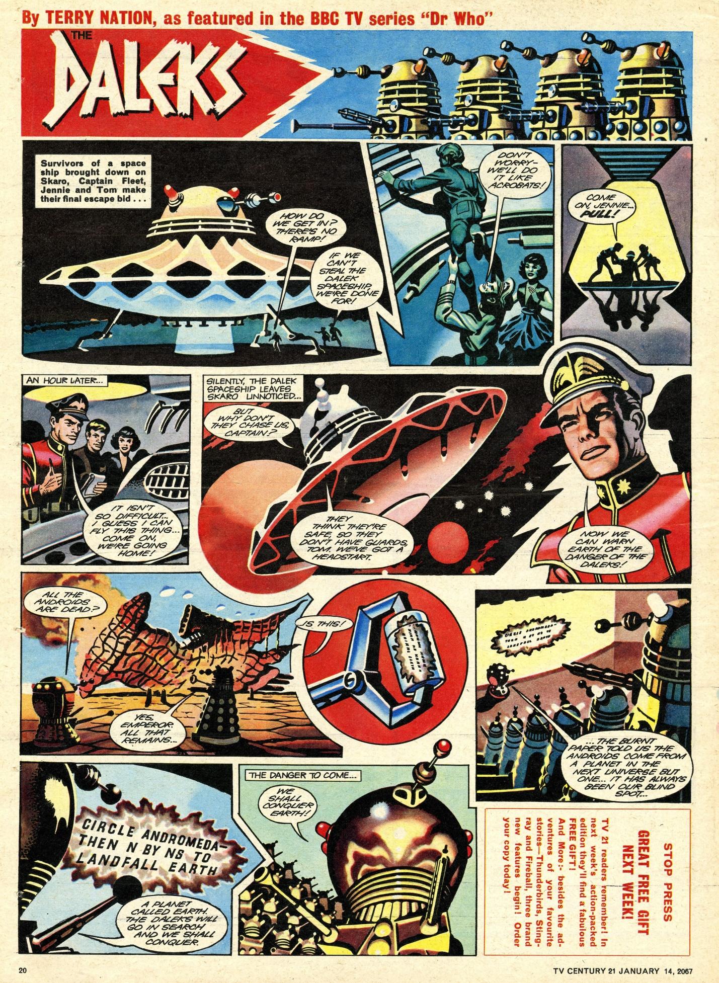 Final Daleks strip in TV Century 21, no. 104, 14 January 2067 (1967)