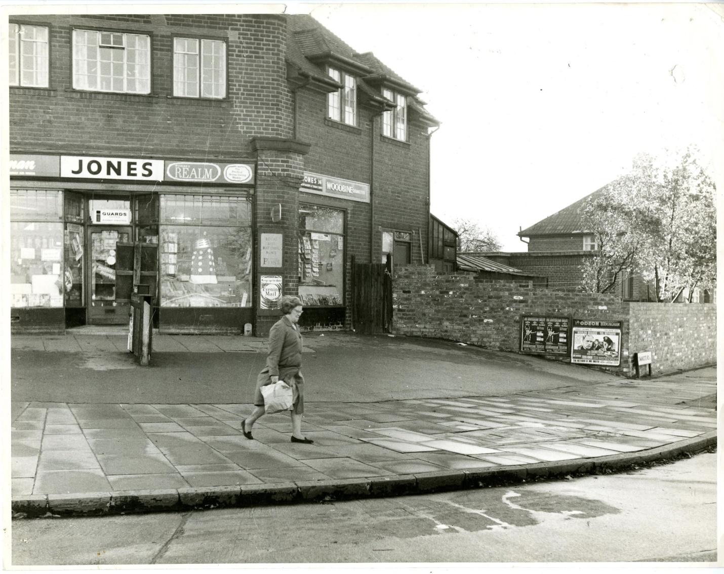 Photo of Glebe Farm Road, Birmingham showing Berwick's Dalek Playsuit. From Sheffield's Press Agency.