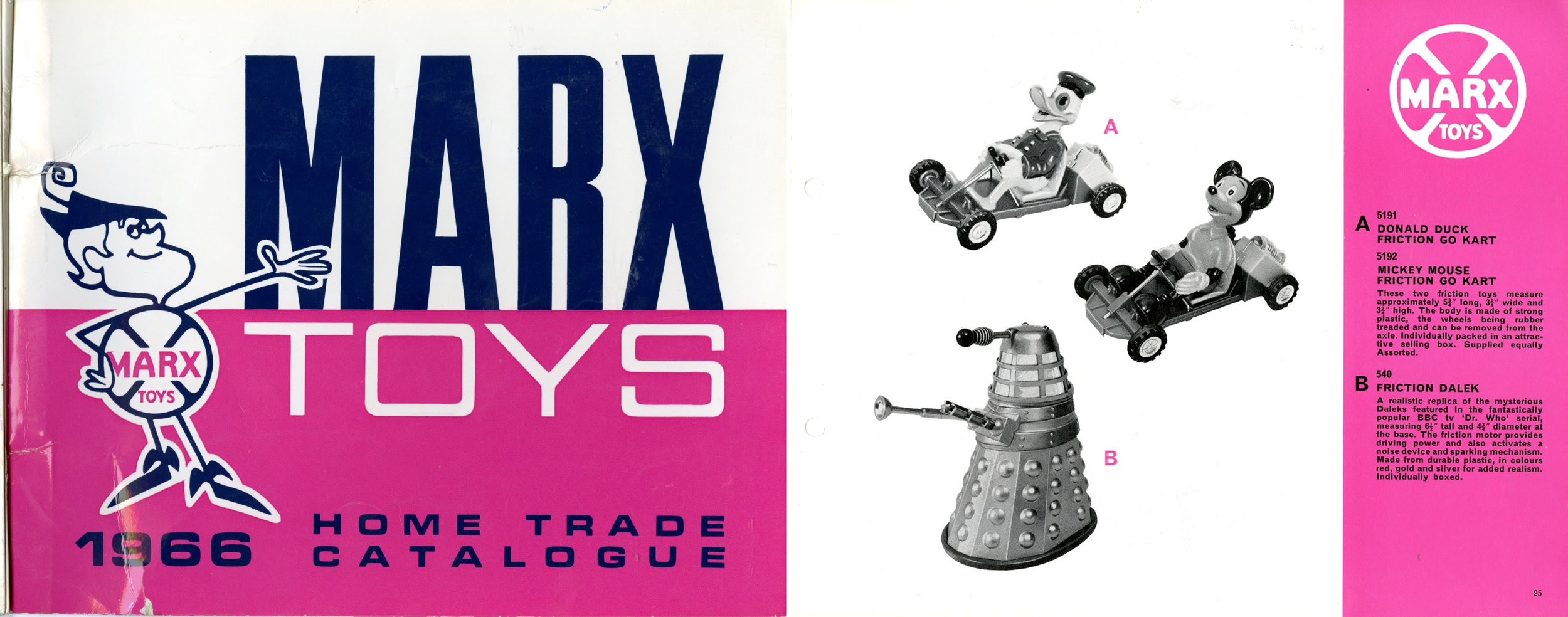 Louis Marx and Company Ltd., Marx Toys 1966 Home Trade Catalogue showing friction-drive Dalek.