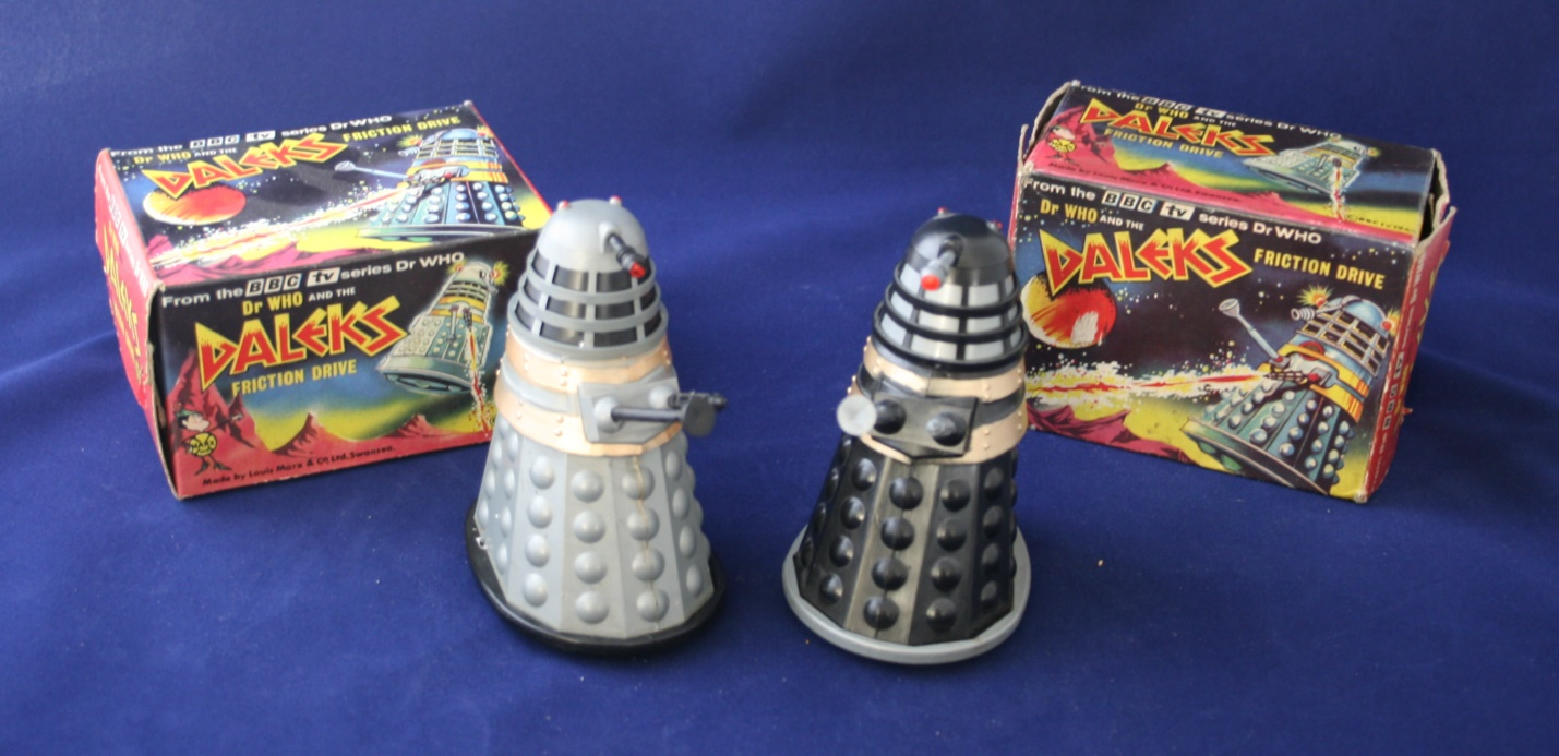 Louis Marx and Company Ltd. Dr. Who and the Daleks Friction Drive (small version in grey and black).