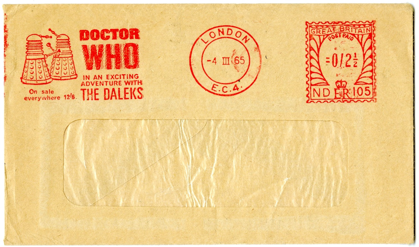 Envelope from Frederick Muller Ltd., advertising Doctor Who: In an exciting adventure with the Daleks.