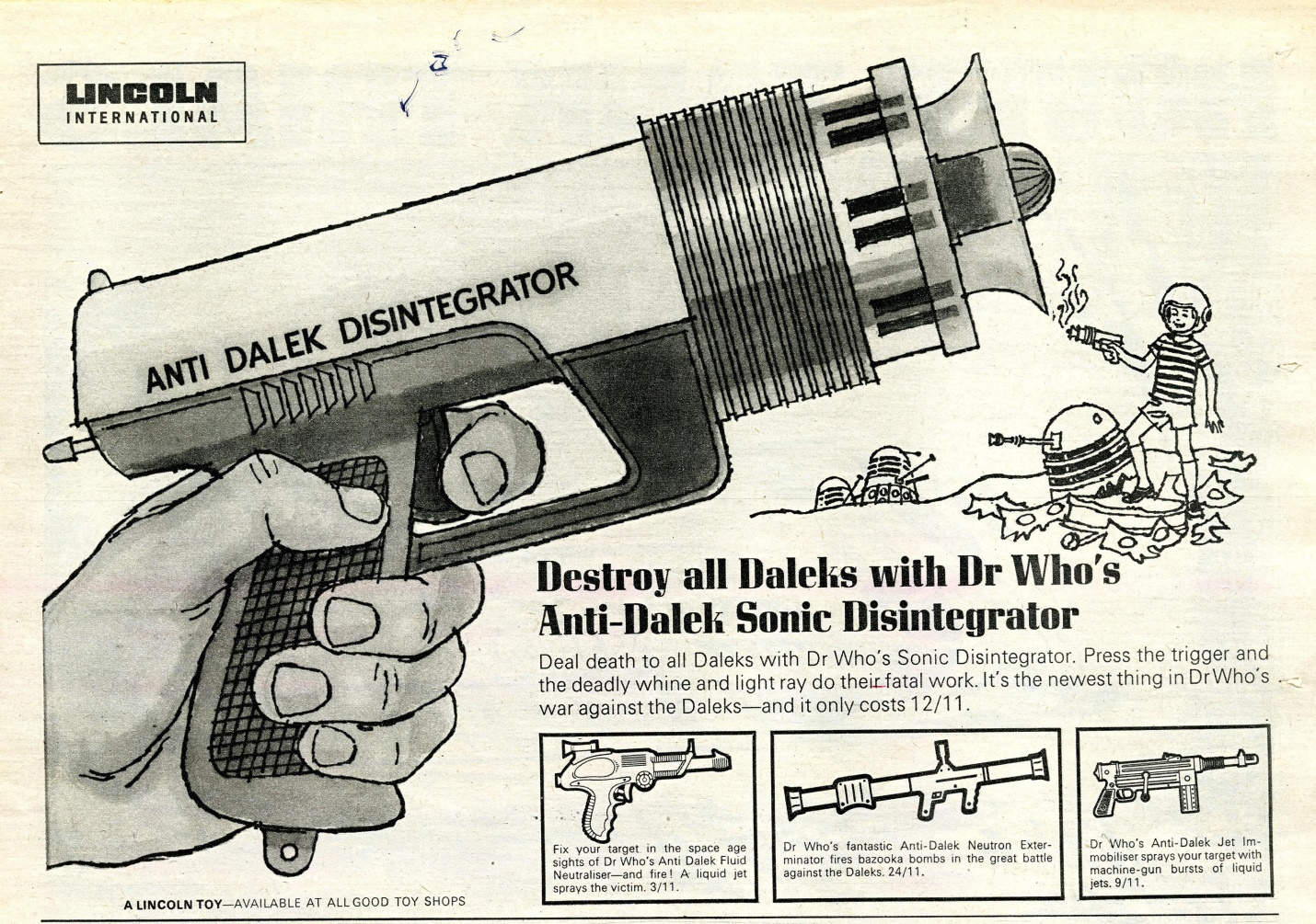Ad. for Lincoln International Ltd. Dr. Who's Anti-Dalek Sonic Disintegrator, in TV Century 21 #65, 16 April 2066 (1966).