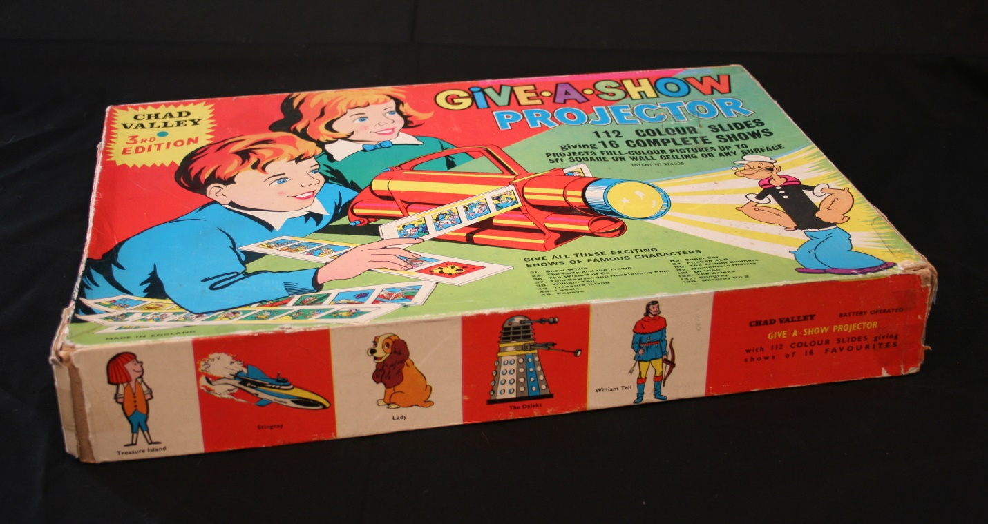 Chad Valley Ltd., Give-A-Show Projector 3rd Edition (containing Doctor Who slides and showing Dalek image on box).
