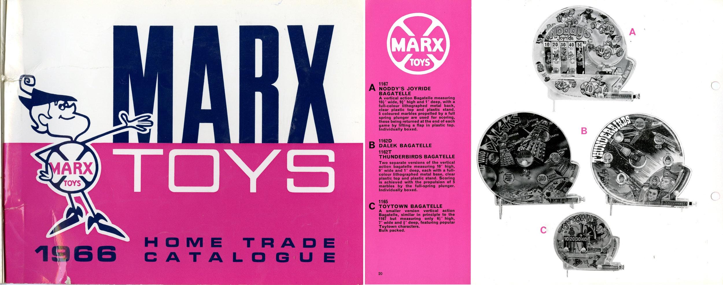 Louis Marx and Company Ltd., Marx Toys 1966 Home Trade Catalogue showing large circular Dalek bagatelle.