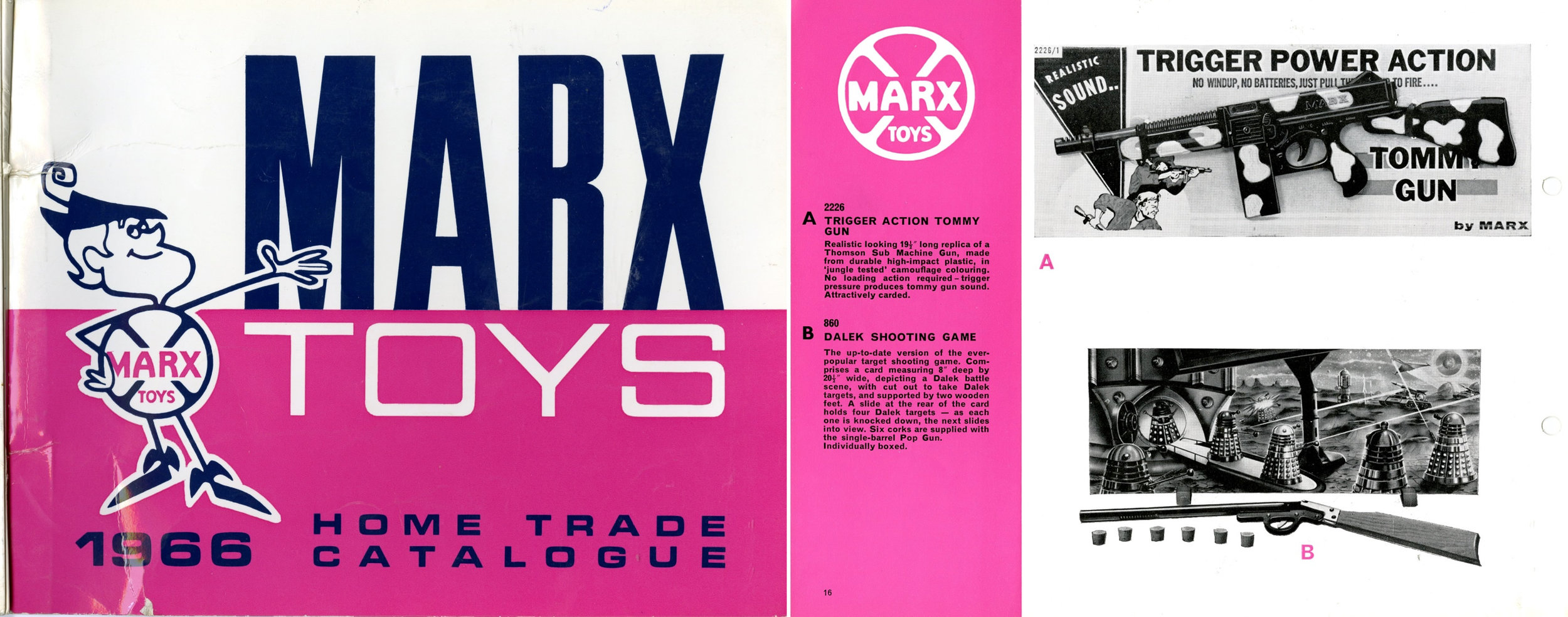 Louis Marx and Company Ltd., Marx Toys 1966 Home Trade Catalogue showing the Dalek Shooting Game.