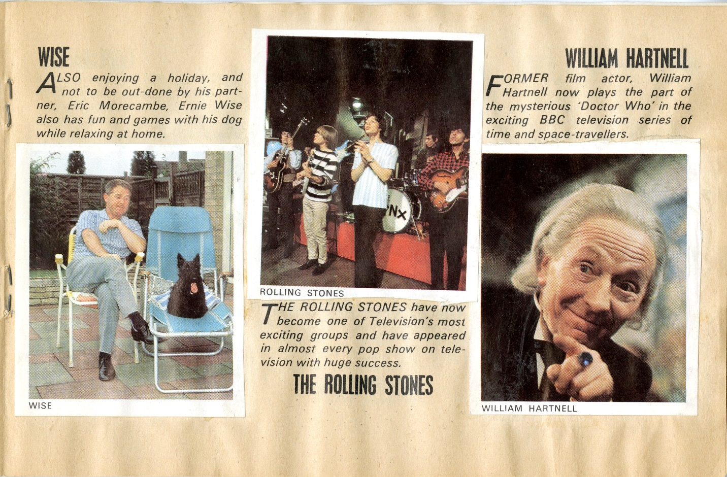 William Hartnell sticker in the My New Book of TV Stars 1965, presented free with TV Comic.