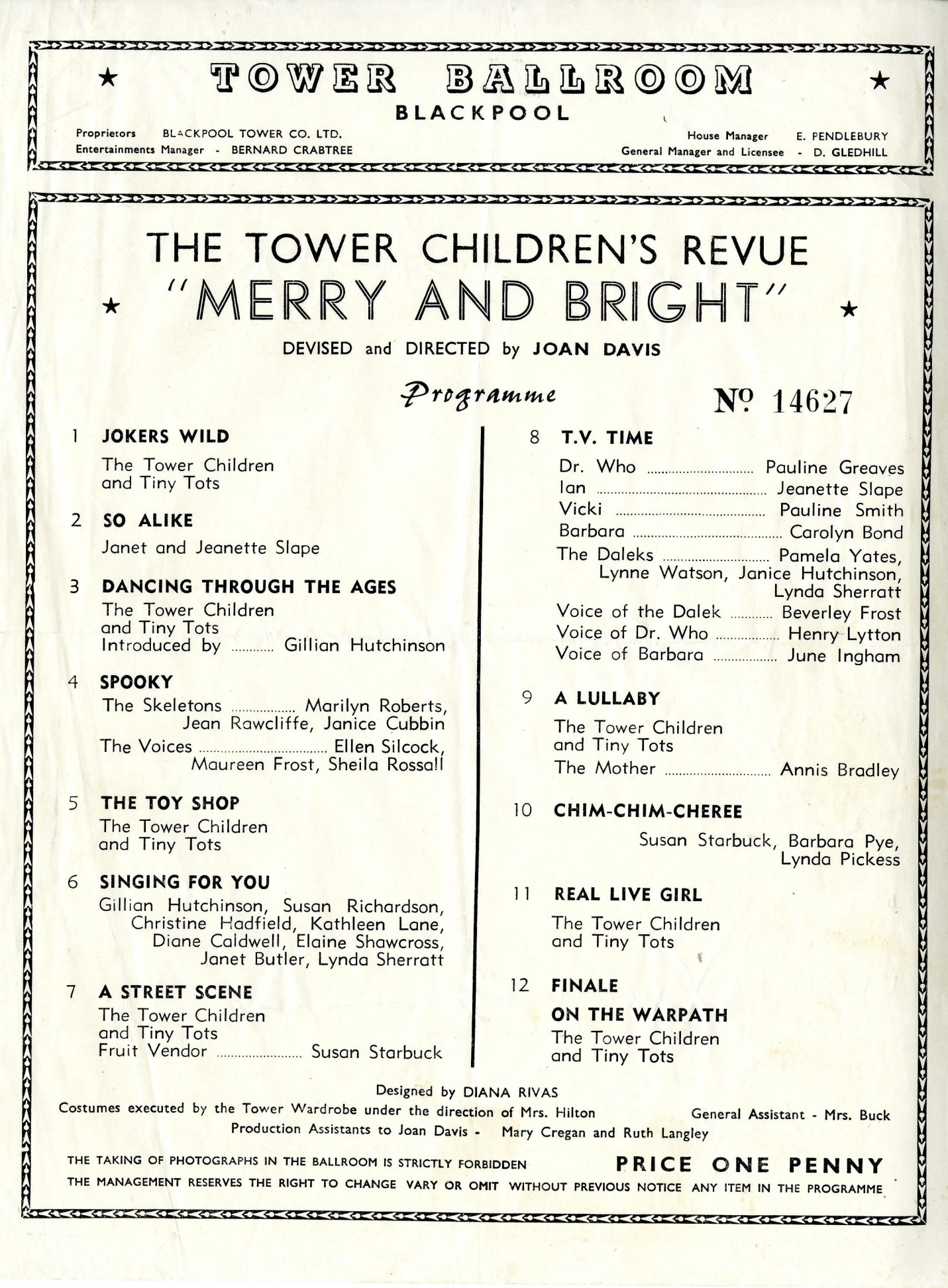 """Programme for The Tower Children's Revue, """"Merry and Bright,"""" The Tower Ballroom, Blackpool, including a Doctor Who skit."""