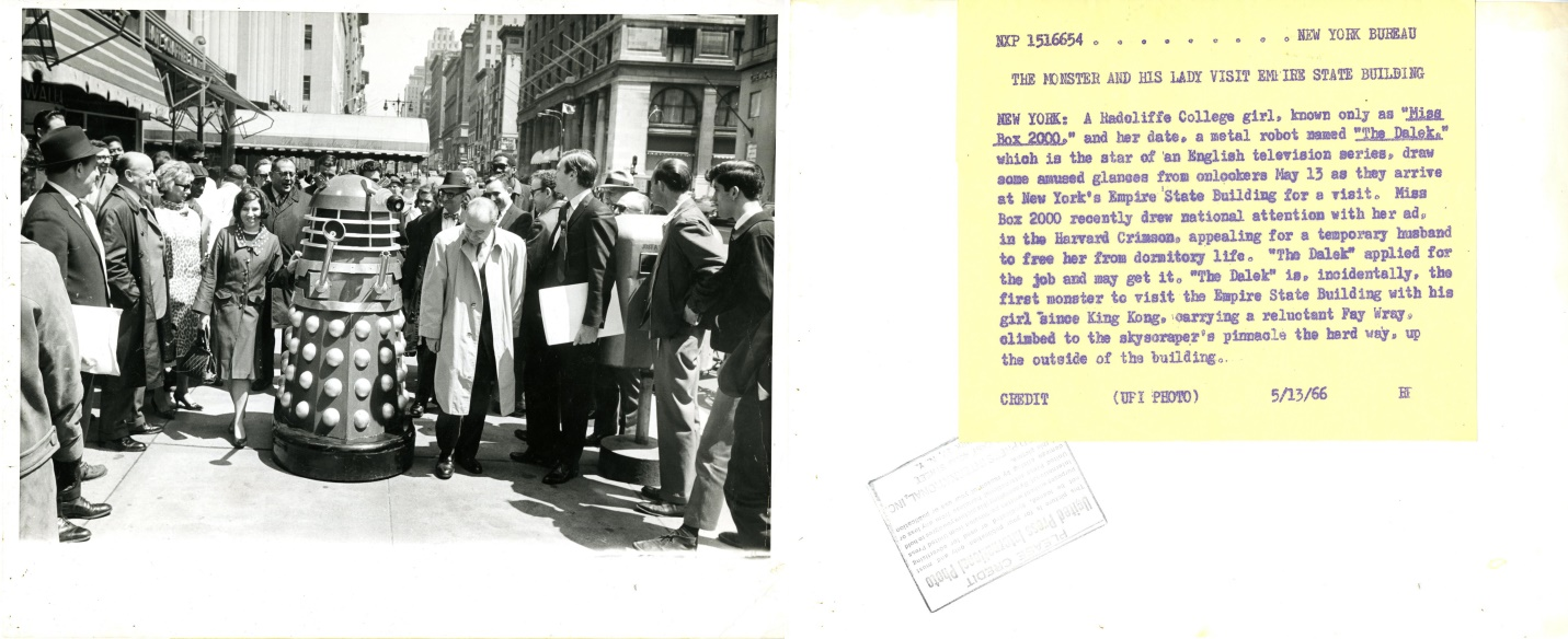 Dr. Who and the Daleks promotional photograph in New York City (front and back).