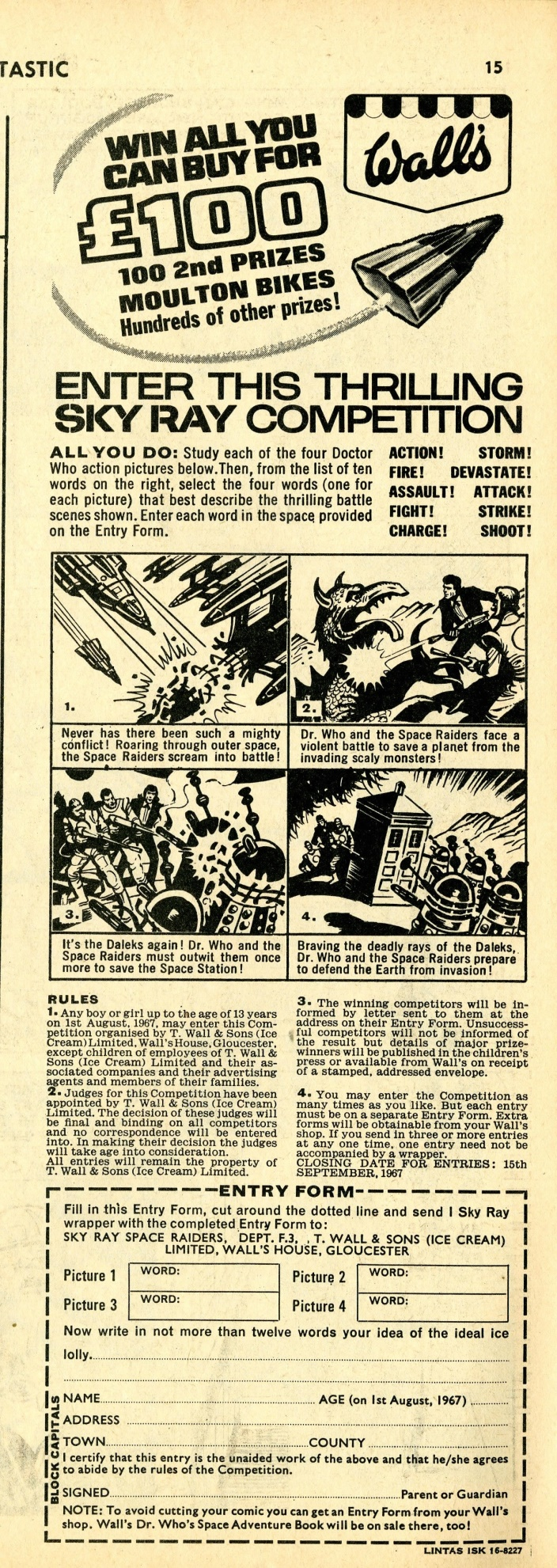 Ad. for Wall's Sky Ray in Fantastic comic, number 25, 5 August 1967