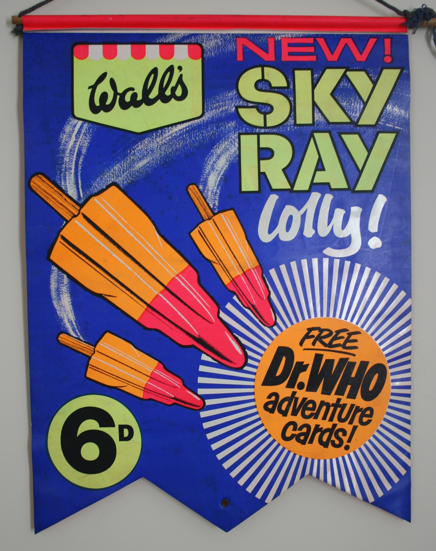 Shop display banner for the Wall's Ice Cream Sky Ray Doctor Who promotion