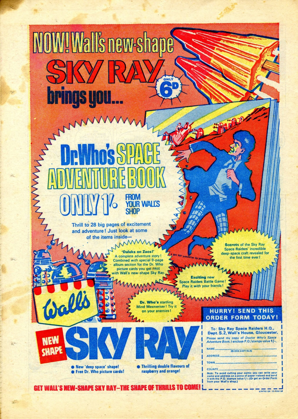 Ad. for the Wall's Sky Ray Dr. Who promotion in Smash comic, 15 July 1967