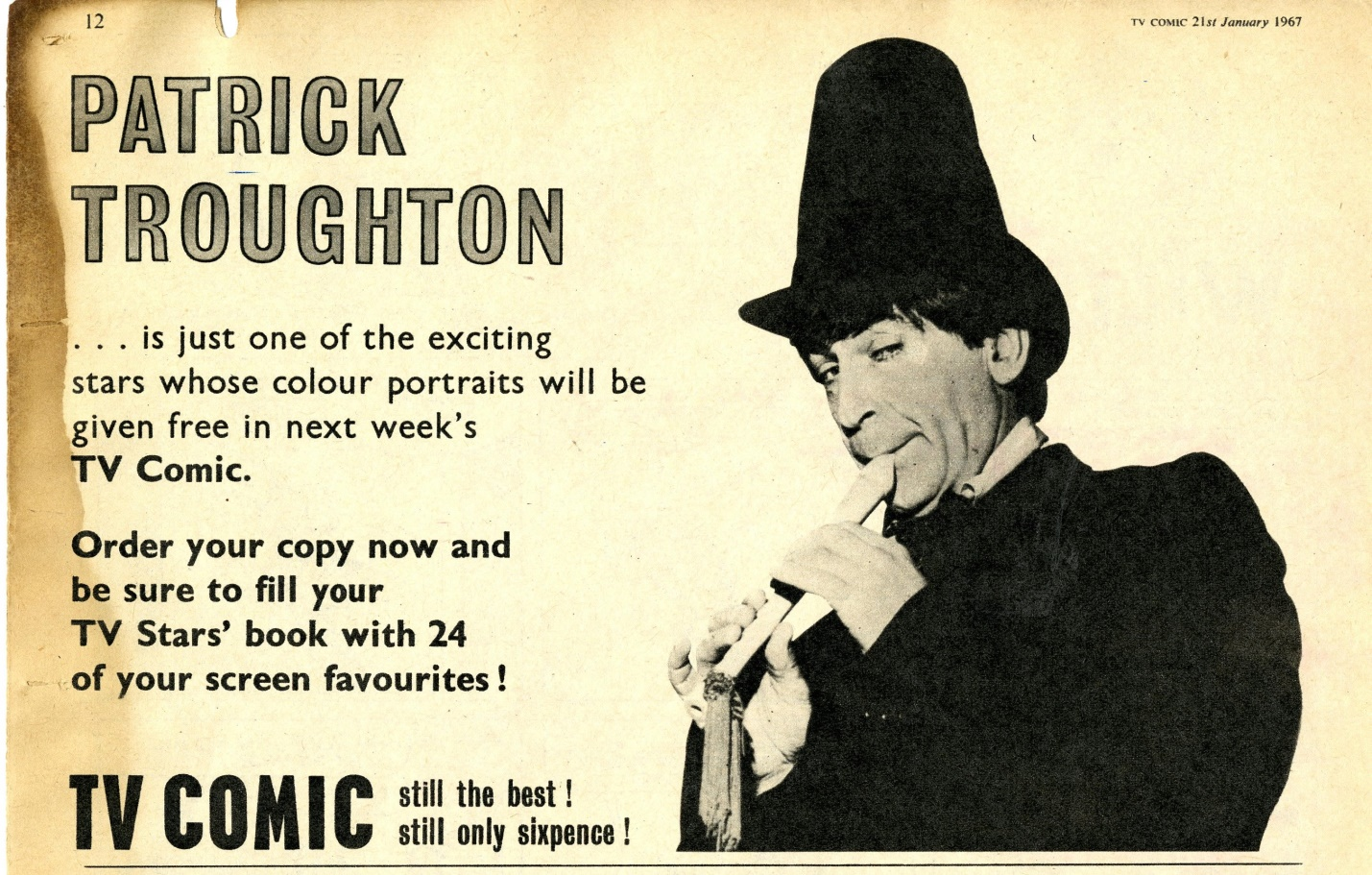 Preview of the Patrick Troughton sticker for My Super Book of TV Stars in TV Comic number 788, 21 January 1967