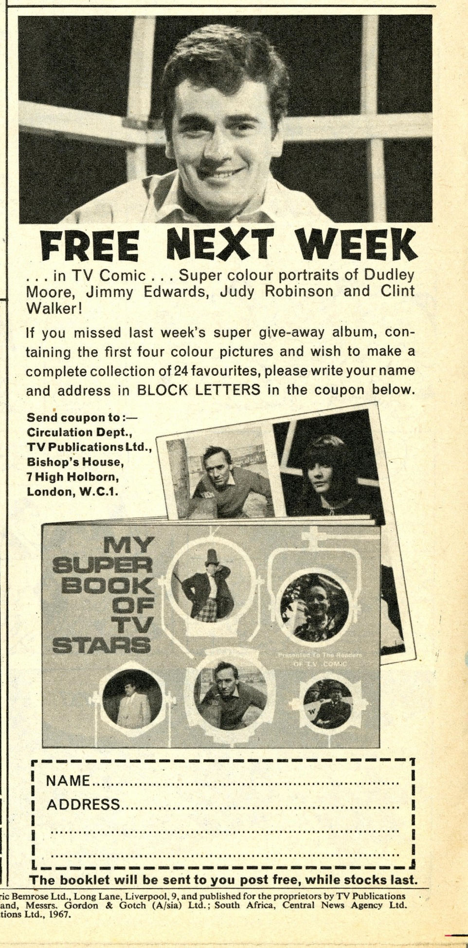 Ad. for My Super Book of TV Stars, TV Comic number 789, 28 January 1967