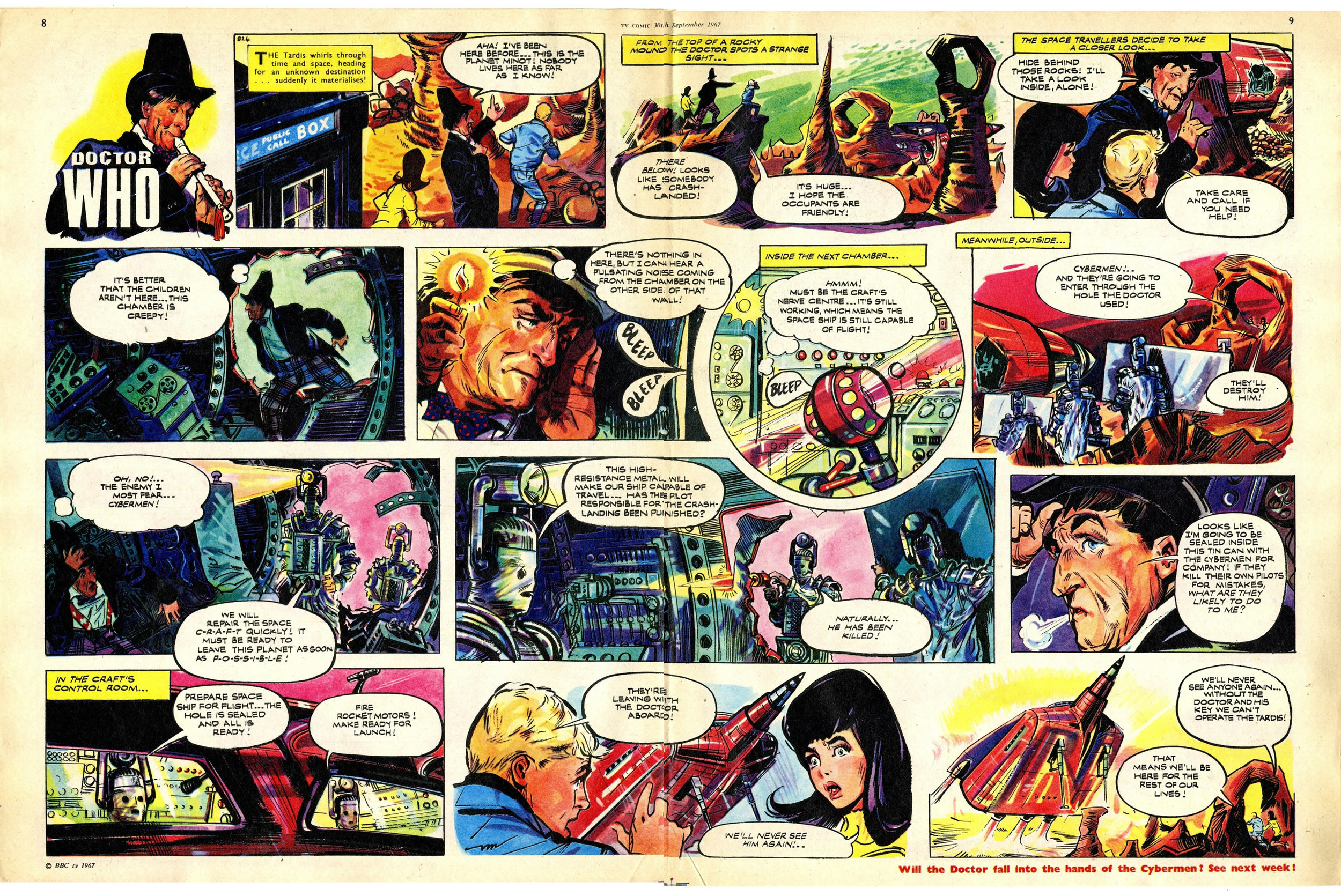 First appearance of the Cybermen in TV Comic, number 824, 30 September 1967