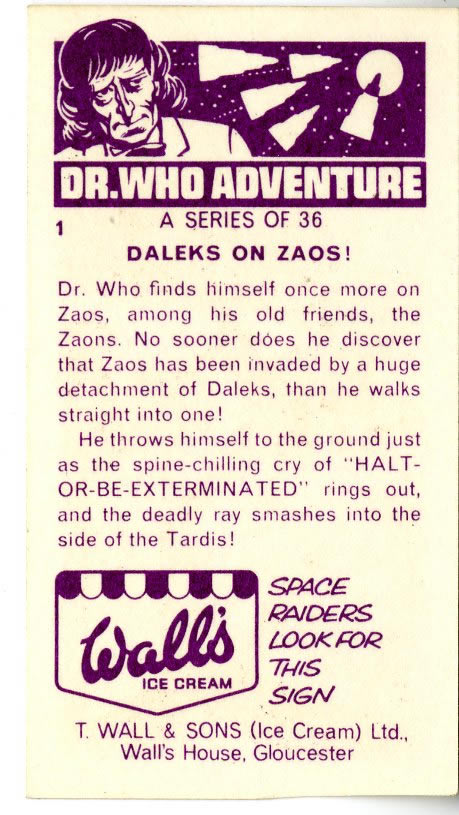 Back of Dr. Who Adventures card included with Wall's Sky Ray lollies, telling a story across a series of 36 cards