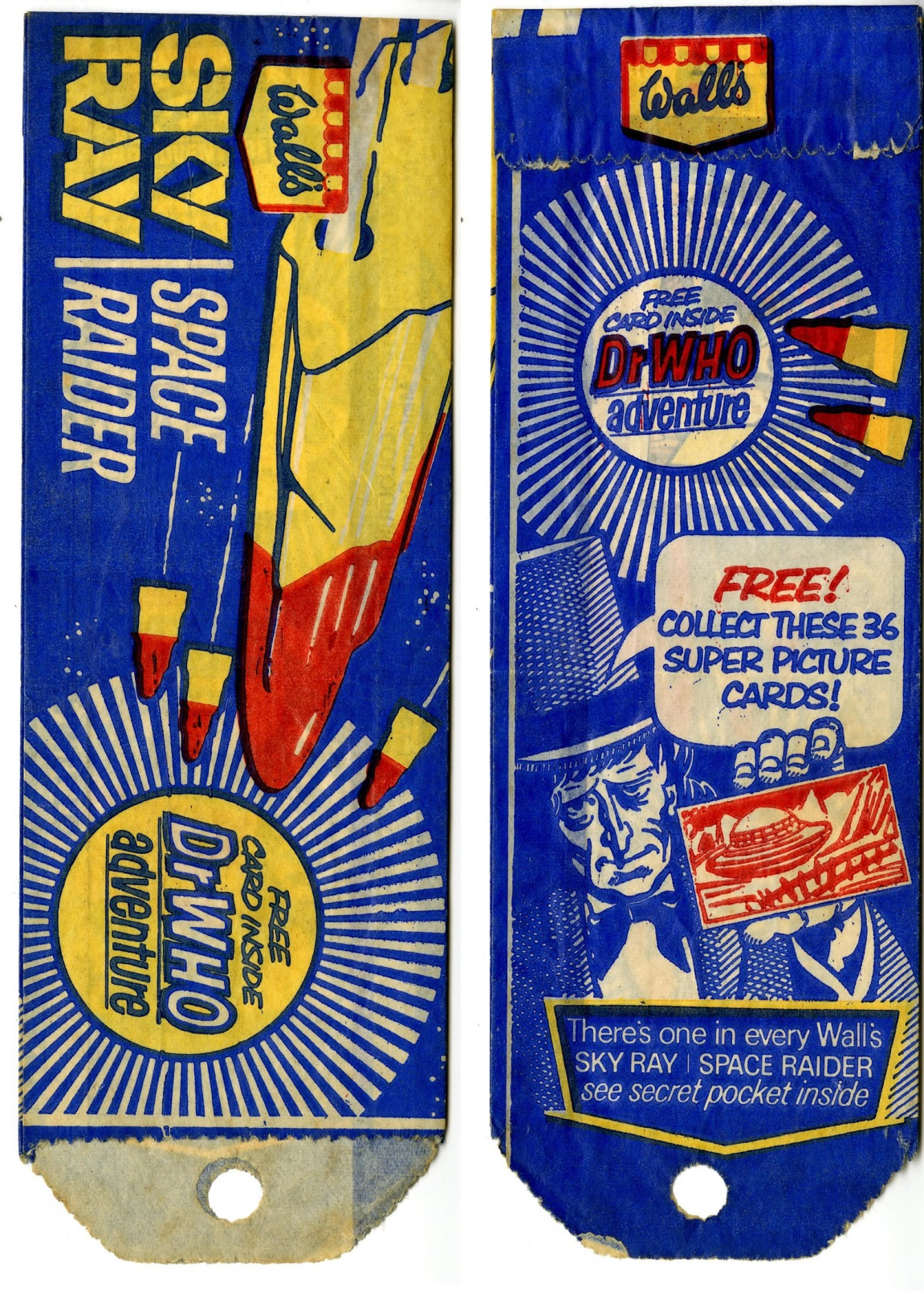 Wrapper for a Wall's Sky Ray lolly with the Dr. Who promotion