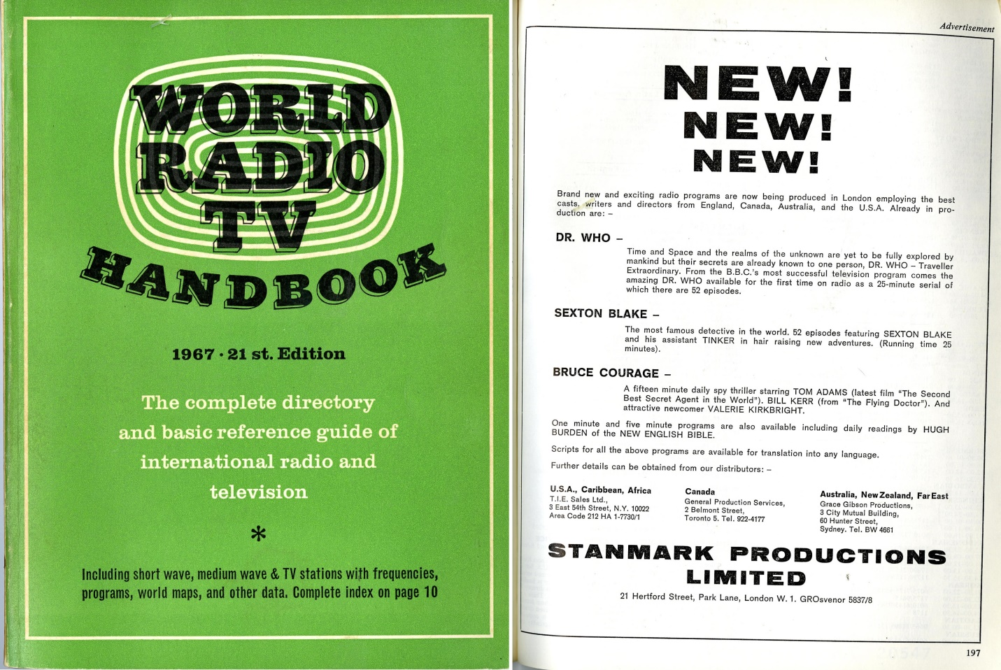 Stanmark Productions Ltd. ad. for a proposed series of Dr. Who radio plays, in World Radio TV Handbook 1967