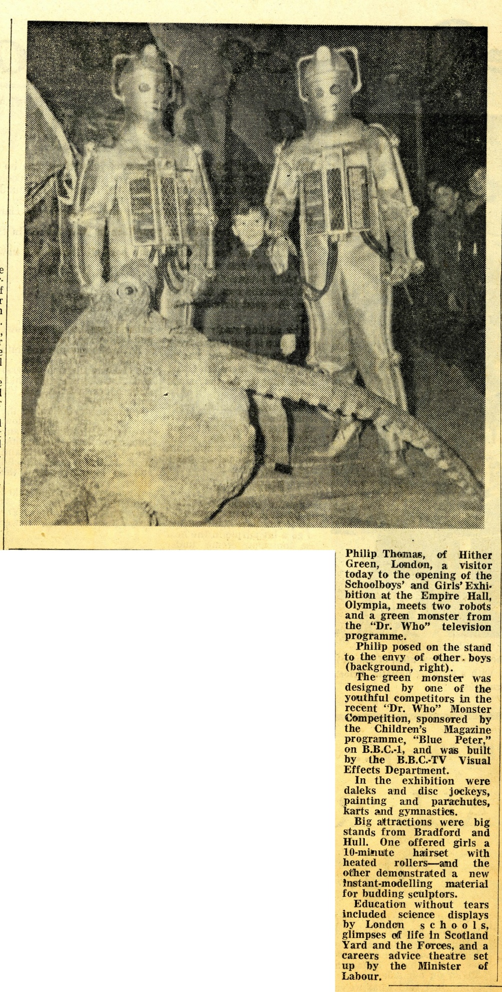 Article about Dr. Who Monsters at the Daily Mail Schoolboy & Girls Exhibition in the Yorkshire Evening Post, 27 December 1967